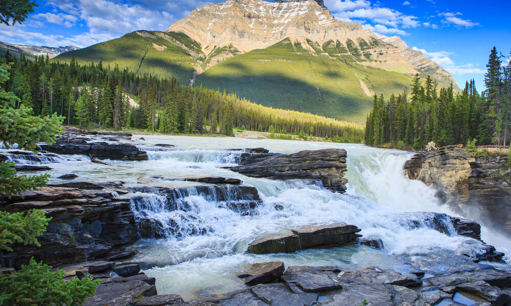 Athabasca Falls aan de Icefields Parkway
