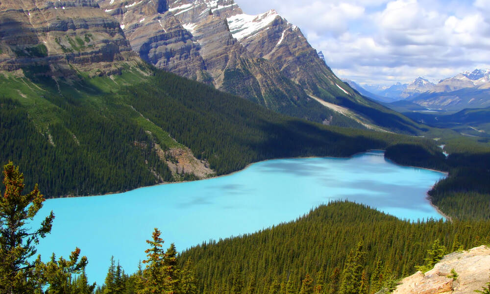 Peyto Lake aan de Icefields Parkway in West-Canada